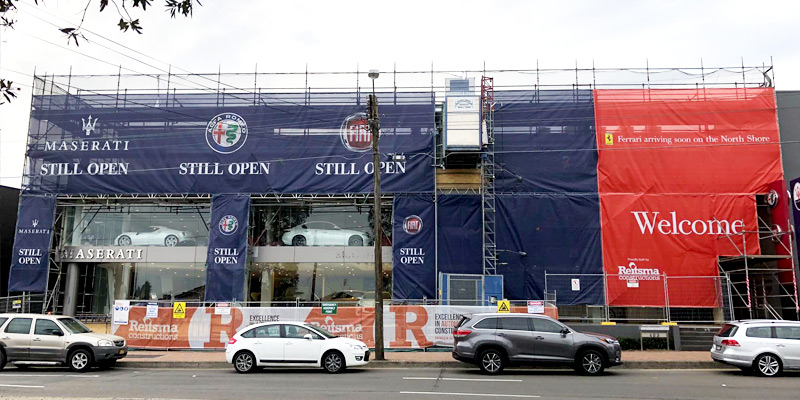 Ferrari Showroom, Artarmon - Commercial Scaffolding Project - Stronghold Hire