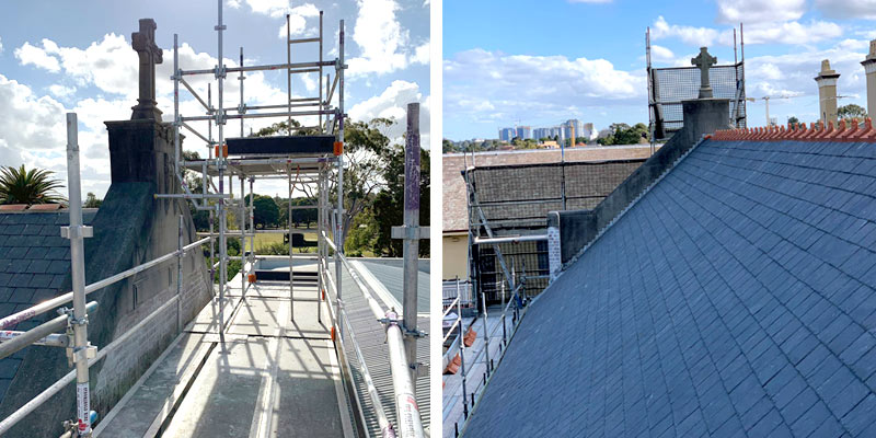 Roof Scaffolding - Domremy college, Five Dock