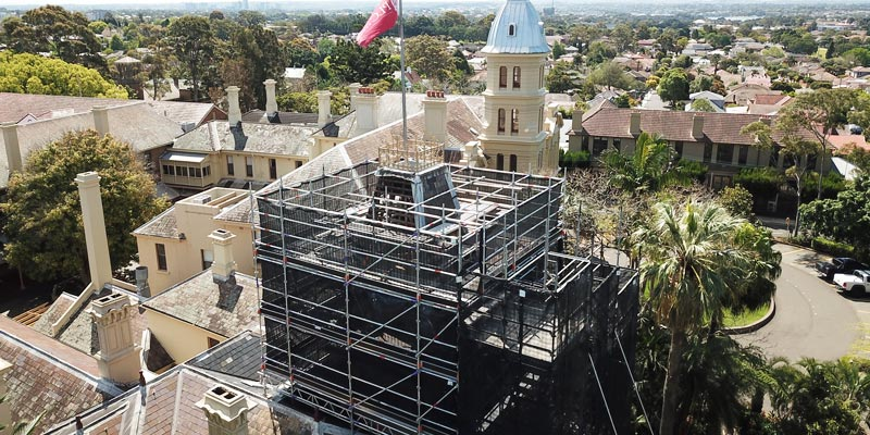 Scaffolding Hire for School Roof - Croydon Presbyterian Ladies College - Stronghold Sydney