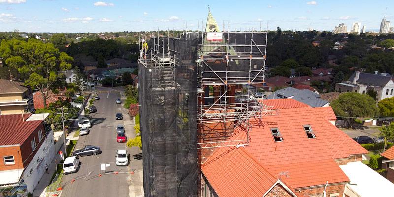 Hire Scaffolding - Ashfield Bell Tower - Sydney