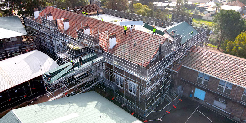 Scaffolding Public School Roof Restoration Sydney